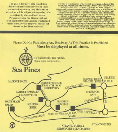 Sea Pines Map And Info Received At Entrance Picture Of Hilton Head - Map of sea pines hilton head island