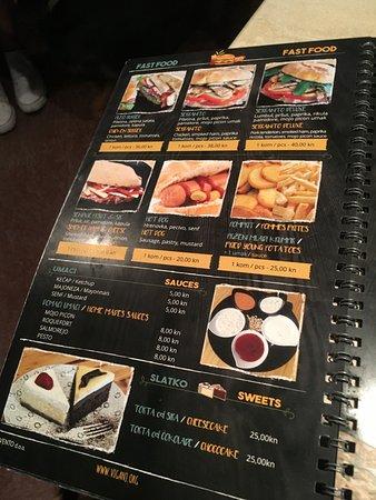 Viganj, Croatia: menu