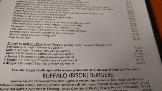 Col. Mustard's Phat Burgers: Glimpse of the expansive menu featuring buffalo burgers, extravigant toppings and the banger bur