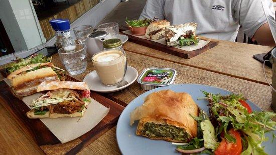 Sandringham, Australia: Pulled pork & lamb sandwiches; filo pastry