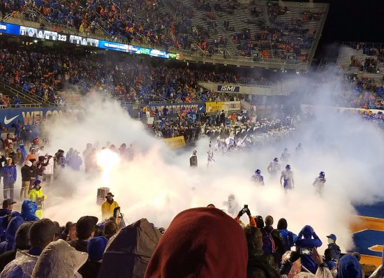Albertsons Stadium: Fog envelops Boise State's players as they enter the field.