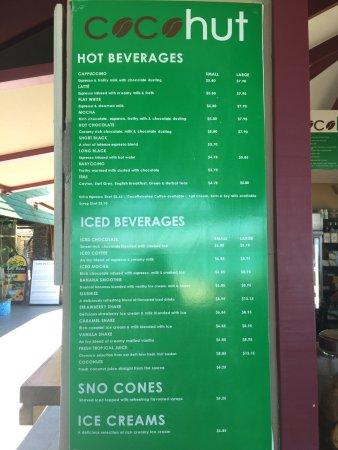 Plantation Island Resort: CocoHut cafe - drinks menu