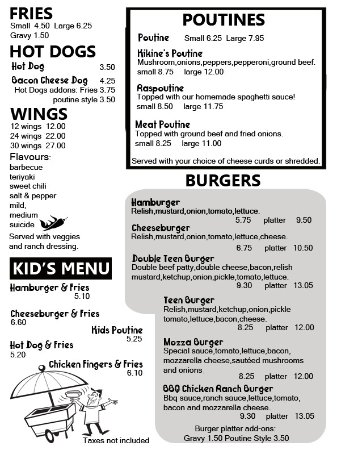Longlac, Canadá: Fries, wings, poutines, kid's menu, burgers and hot dogs menu