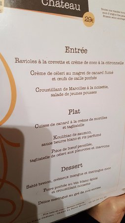 La Ferte-Milon, France : Menu