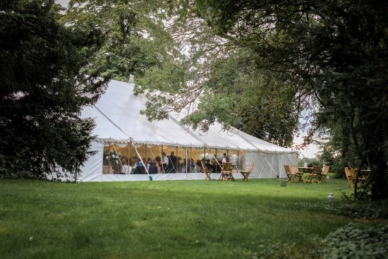 Godmanchester, UK: Marquee on the island