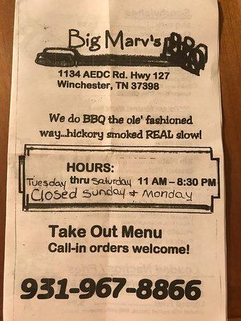 Winchester, TN: Big Marvs BBQ