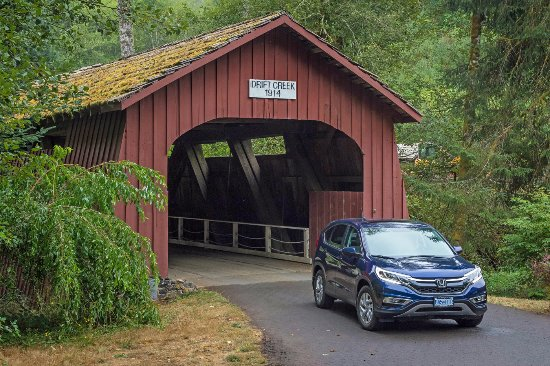 Drift Creek Covered Bridge : Now located on a private driveway