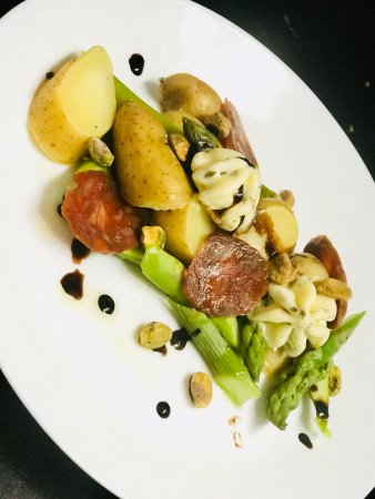 Lighthouse Point, FL: Asparagus, Imported Chorizo, Lavender Butter, Potatoes, Pistachio