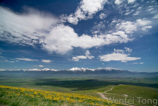 Missoula, MT: View of the Mission valley and mountains from the National Bison Range