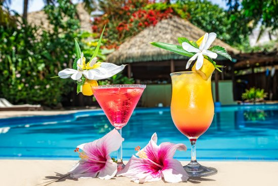 Sanctuary Rarotonga-on the beach: Tropical Cocktails by the pool