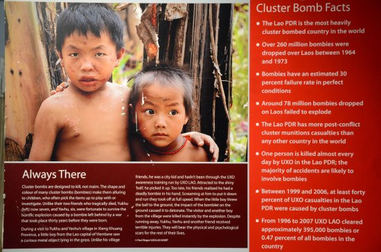 UXO Lao Visitors Centre: The tragedy of innocent young lives lost or injured due to UXO's still occurs in Laos today.