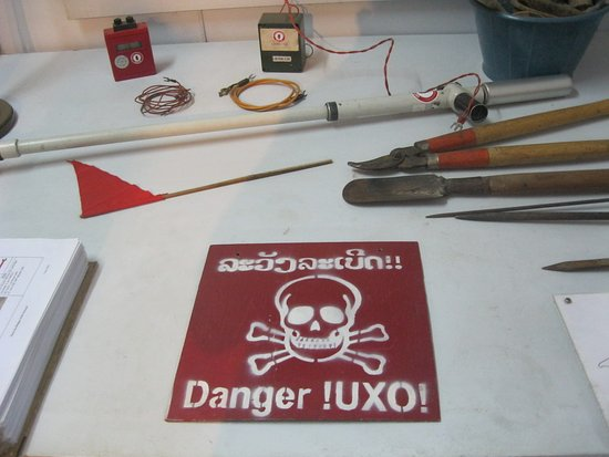 UXO Lao Visitors Centre: Partial view of equipment used to locate and defuse UXO's.