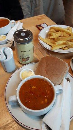 Haslingden, UK: Chicken jambalaya soup n home made chips