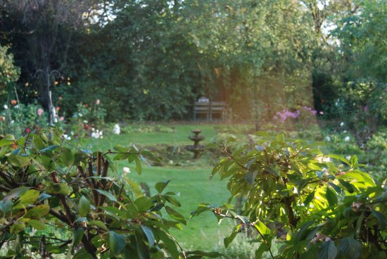 Uplands House: view from a bedroom onto an inviting nostalgic garden