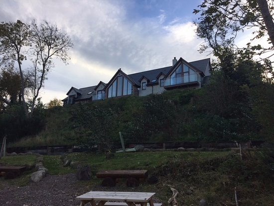 Dores, UK: View of the house from the private beach