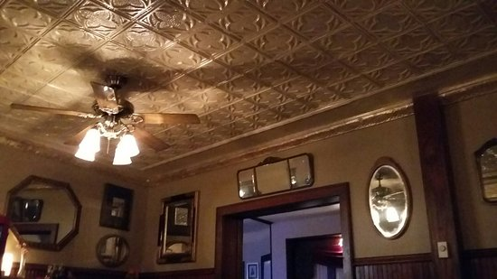Newburg, WI: A tin ceiling in one of the dining areas