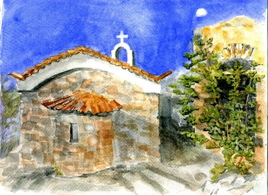 Oitylo, Hellas: sunrise old and new chapels next door