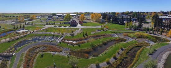 Olds, Kanada: Aerial View of Constructed Wetlands