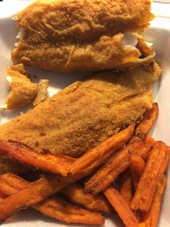 Jennings, LA: fried fish platter comes with 2 large fried fish and fries