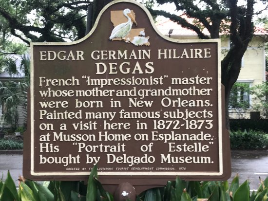 Edgar Degas House Creole Impressionist Tour : Sign in front of house.