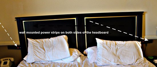 Hotel St. Michael: Easily accessible power strips on either side of the headboard for medical equipment and compute