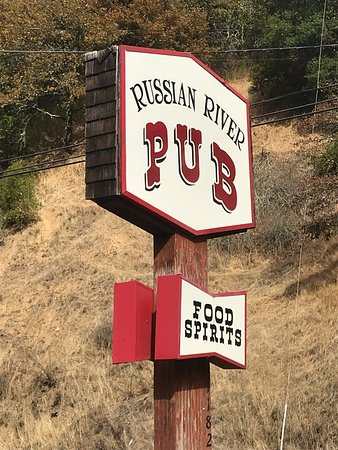 Russian River Pub: Sign along River Rd