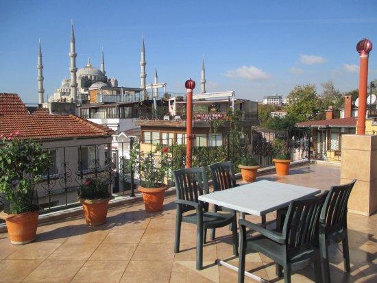 Side Hotel and Pension: 屋上のテラスから見たブルーモスク