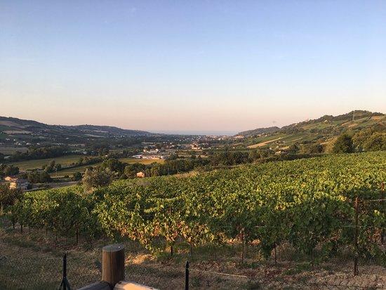 Montefiore dell'Aso, Italy: uitzicht vanaf veranda over de vallei richting de zee