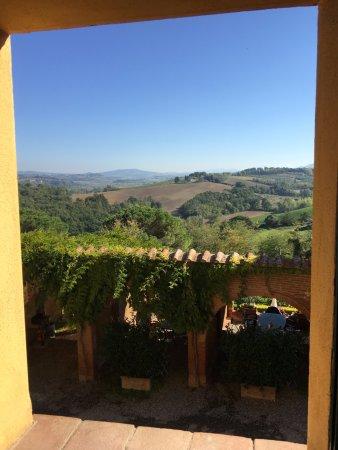 Terricciola, Ιταλία: Direkt aus dem Küchenfenster ein Blick ins Tal