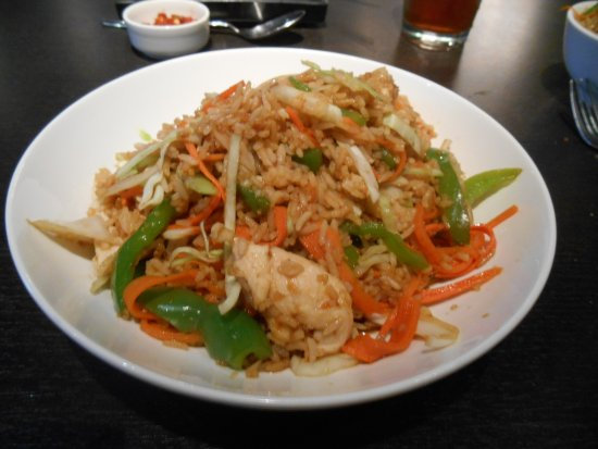 Blue Bamboo : CRE-Asian bowl, rice, chicken, carrots, cabbage, green pepper