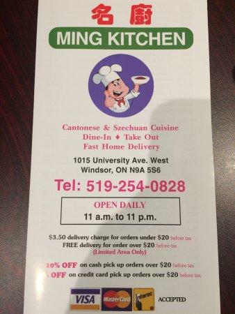 Menu - Picture of Ming Kitchen, Windsor - TripAdvisor