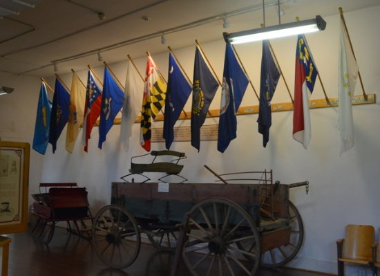 Mount Airy, NC: Flags of the States from where the original settlers came from