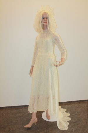 Blonduos, Island: Wool, hand-made wedding dress.