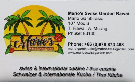 Visitenkarte Picture Of Mario S Swiss Garden Rawai