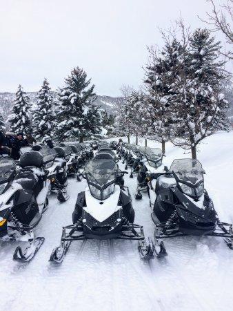 Midway, UT: Snowmobiles awaiting you