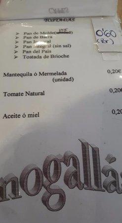 Ordes, Spanyol: carta de desayunos