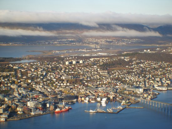 View from the top of Tromso Island  Harbor foreground