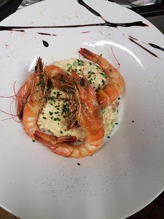 Goderville, Francia: Risotto crémeux aux Crevettes et Chorizo