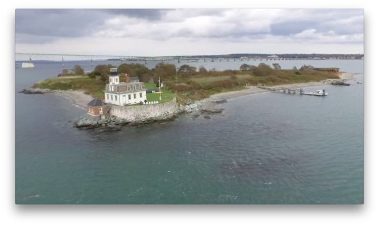 Rose Island Lighthouse: Rose Island from the Air