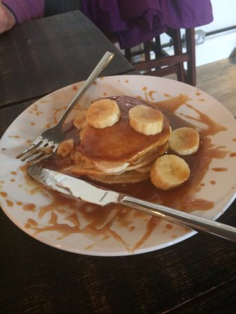 Radstock, UK: Pancakes with Bananas and Salted Caramel