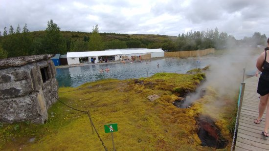 Fludir, Iceland: view of locker rooms from path