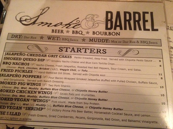 Smoke and Barrel: menu