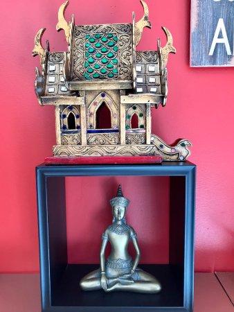 Westford, MA: Spirit house and buddha statue