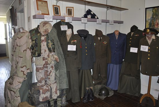 Neillsville, WI: Third Floor of the Jail Museum serves as a Military Display.  Uniforms worn by local residents.