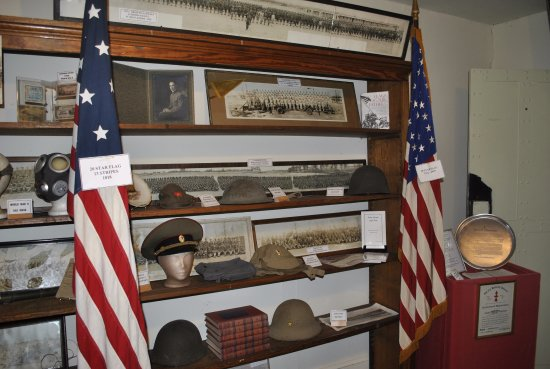 Neillsville, WI: Military Floor display - Photos, artifacts and memorabilia on display.