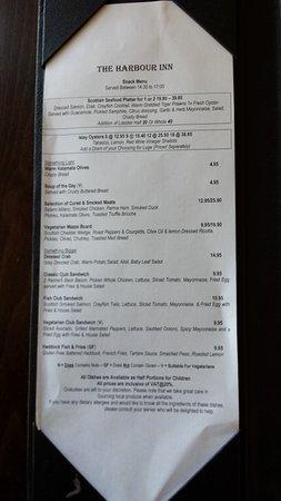 Bowmore, UK: Afternoon menu