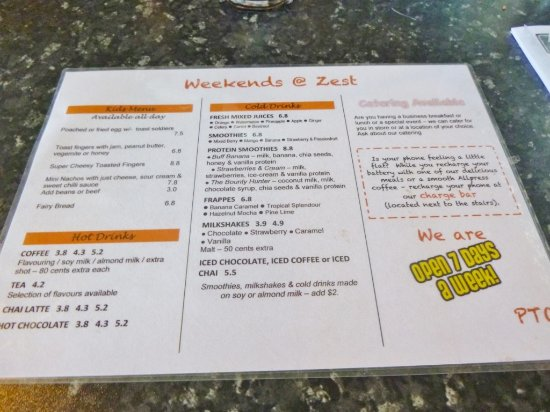 Zest Cafe: Menu