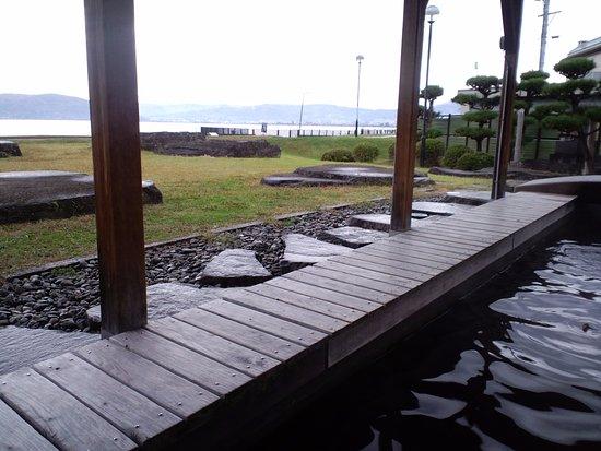 Suwa, Japonia: 訪湖間欠泉センター 足湯からの眺め