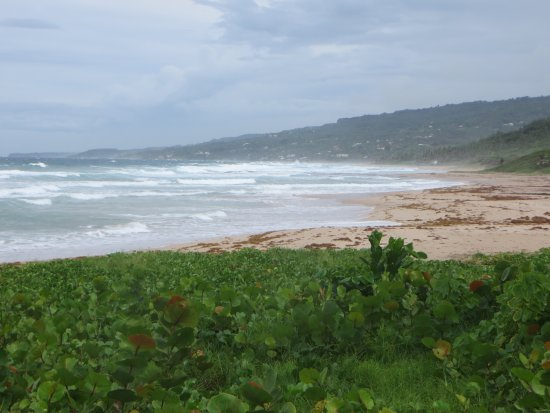 Saint Andrew Parish, Barbados: Beach scene - looking south along Cattlewash Beach towards Bathsheba