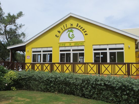 Saint Andrew Parish, Barbados: Bright yellow restaurant seen from the Ermy Bourne Highway; entrance to LHS